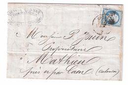 Lettre De PARIS Etoile + Cachet Sur Empire N° 22 ; Facture Fourniture Pour Tailleurs , 4 DEC 1866 > MATHIEU Calvados ,TB - Marcophilie (Lettres)