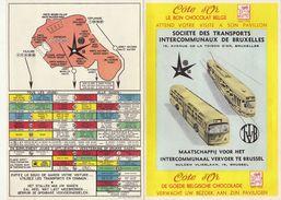 Tram Tramways Bus SNCV Plan Des Lignes De Bruxelles Pour Expo 58 Chocolat Côte D'or - Transports