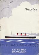 Paquebot Ile De France Liste De Passager Juillet 1933 Commandant Burosse - Boten