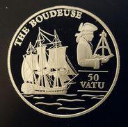 "VANUATU 50 VATU 1993 SILVER PROOF ""The Boudeuse"" Free Shipping Via Registered Air Mail - Vanuatu"