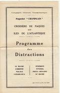 Paquebot Champlain Programme Des Distractions 1936 - Bateaux