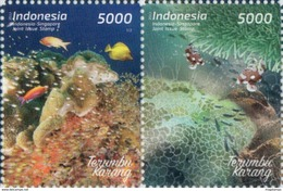 INDONESIA 2017-10 JOINT ISSUE W/ SINGAPORE MARINE LIFE CORAL SET STAMPS MNH - Indonésie