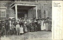 Okmulgee OK Creek Council In Session Native Americana Indians Postcard Jrf - Verenigde Staten