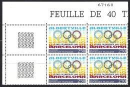 Yv 2760 Bloc De 4 ** Pays Olympiques 1992 - France