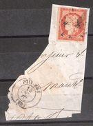 CERES N° 5 B , 40 C ORANGE FONCE Obl Sur Fragment De Lettre + Cad Poitiers , B/TB - 1849-1850 Ceres