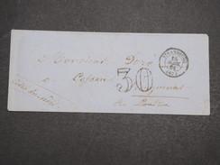 FRANCE - Env Taxée 30 De Strasbourg Pour Plouguenast (perlé Au Dos) - PC - Avril 1861 - P22135 - Marcophilie (Lettres)