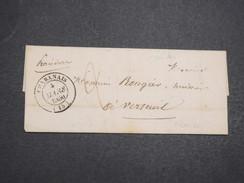 FRANCE - Env Taxée De Chabanais Pour Verteuil - Cachet Sans Fleuron + Marque 15 Verteuil S/Charente Au Dos 1850 - P22136 - Marcophilie (Lettres)