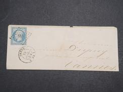 FRANCE - Env Petits Chiffres 511 De Brest Pour Vannes Avec N° 14 Bleu Laiteux - A étudier - Juil 1854 - P22137 - Marcophilie (Lettres)