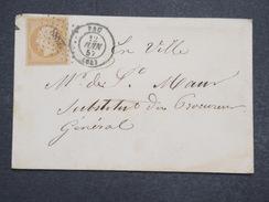 """FRANCE - Env Pau Pour Pau """"En Ville"""" Avec N° 13 Petits Chiffres 2388 - A étudier - Juin 1857 - P22138 - Postmark Collection (Covers)"""