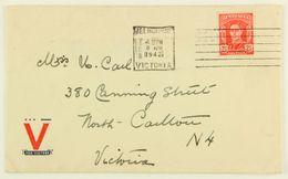 Australia, 1942 Melbourne --> North Carlton, Fr. 2 1/2 D Machine Cancellation - 1937-52 George VI