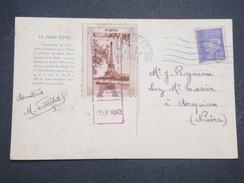 """FRANCE - Carte Postal Avec Vignette """"la Tour Eiffel"""" - Août 1943 - P22141 - Erinnophilie"""