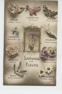 """ENFANTS - Jolie Carte Fantaisie Petit Garçon """"LANGAGE DES FLEURS """" : Rose , Violette , Houx ,muguet , Marguerite, Pensée - Portretten"""