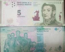 O) 2015 ARGENTINA, BANKNOTE 5 PESOS ARP, LIBERATORS OF AMERICA JOSE SAN MARTIN-SIMON BOLIVAR-JOSE GERVASIO ARTIGAS-BERNA - Argentine