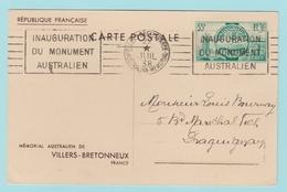 Fr28  EP Mémorial Australien De Villers-Bretonneux  + Flamme 22.7.38 - Entiers Postaux