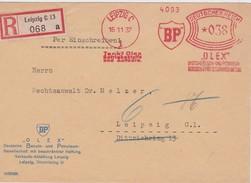 ALLEMAGNE 1937 LETTRE RECOMMANDEE DE LEIPZIG AVEC CACHET ARRIVEE EMA THEME ESSENCE PETROLE BP - Germania