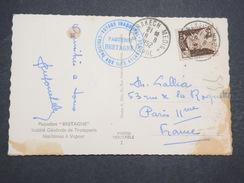 MAROC - Carte Postale Avec Cachet Commémoratif Paquebot Bretagne - Août 1952 - P22145 - Maroc (1891-1956)