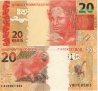 "BRAZIL    20 Reais   P255c   New Signatures   ""Lion Monkey At Back""  UNC - Brasile"