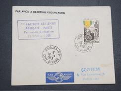 AOF - Env 1ère Liaison Abidjan Paris En Avion à Réaction Sur T Du Centenaire De La Médaille Militaire - 1953 - P22148 - A.O.F. (1934-1959)