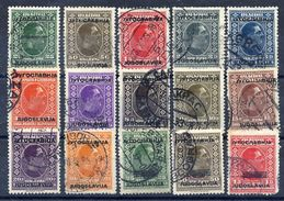 YUGOSLAVIA 1933 King Alexander Definitive Set Overprinted And Three Surcharged Stamps, Used.  Michel 257-71 - 1931-1941 Königreich Jugoslawien