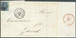 N°4 - Médaillon 20 Centimes Bleu, Obl. P.24 Sur Lettre De BRUXELLES 11 Juin 1851 (avec Càd NOIR, Pas Commun à Bruxelles - 1849-1850 Médaillons (3/5)