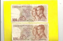 ROYAUME DE BELGIQUE . TRESORERIE. 2 BILLETS X 50 FRANCS-15-06-1966 . N° 055154159 & 281827745 . 2 SIGN DIFF . 2 SCANES - [ 6] Treasury