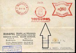 28291g  Bohmen Und Mahren, Red Meter/freistempel/ema/ 1944 Budweis Budejovice,monopol Spaghetti,circul.card - Böhmen Und Mähren