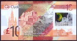 UK Scotland 10 Pounds 2017 UNC P- 229Q Polymer Clydesdale Bank - 10 Pounds