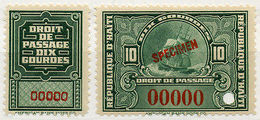 (I.B) Haiti Revenue : Embarkation Duty 10Fr (specimen) - Haiti