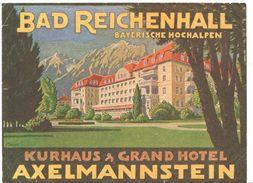 ,ETIQUETA DE HOTEL  - BAD REICHENHALL -KURHAUS GRAND HOTEL  - AXELMANNSTEIN -ALEMANIA - Etiquettes D'hotels