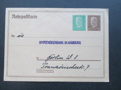 DR 1929 Rohrpostkarte RP 24 An Die Hypothekenbank In Hamburg In Berlin W. 8. Ungebraucht! - Briefe U. Dokumente