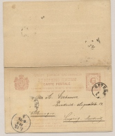 Montenegro - 1888 - 2+2 Nkr Carte Postale From Cetinje To Leipzig / Deutschland - Montenegro