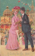 Coney Island New York Amusement Park, Greetings Couple Romance Theme, C1900s Vintage Postcard - Brooklyn