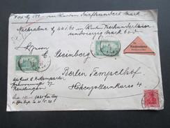 DR 1920 Nr. 113 MiF Nachnahme 44,60 RM / Wertbrief 500 RM! 3 Fach Gesiegelt / Schwarzes Siegel. - Covers & Documents