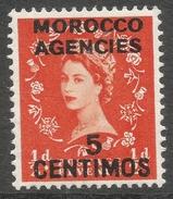Morocco Agencies (Spanish Currency). 1954-55 QEII. 5c MH. Tudor Crown W/M SG 187 - Postämter In Marokko/Tanger (...-1958)
