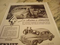 ANCIENNE PUBLICITE VOITURE LA CHAINE A DEMARRE UNE 4 CV DE RENAULT 1947 - Voitures