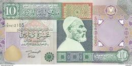 LIBYA 10 DINARS 2002 P-66 SIG/4 ZILITNI UNC */* - Libië