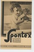PUBLICITE - HYGIENE - Jolie Carte PUB Pour éponge SPONTEX Avec Enfant Nu Dans Baignoire Faisant Sa Toilette - Publicité