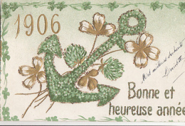 ANCRE AT ANNEE 1906        CARTE EN RELIEF ET DOREE - Nouvel An