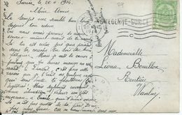 Fantasiekaart Met  OCB 83 - Afstempeling CHARLEROI - Lijnstempel ROMEDENNE-SURICE - 1893-1907 Wapenschild