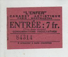 L'Enfer Cabaret Artistique Montmartre Ticket D'entrée 1938 - Tickets - Vouchers