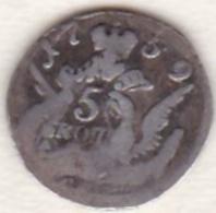 Russie, 5 Kopeks 1759 SPB (Saint-Pétersbourg), Elizabeth, Argent . C# 15.2 - Russie