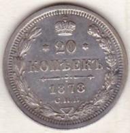 Russie, 20 Kopeks 1878. Alexander II. Argent . - Russie