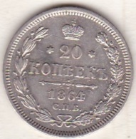 Russie, 20 Kopeks 1864. Alexander II. Argent . - Russie