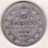 Russie, 20 Kopeks 1863. Alexander II. Argent . - Russie