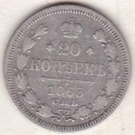 Russie, 20 Kopeks 1865. Alexander II. Argent . - Russie