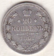 Russie, 20 Kopeks 1861. Alexander II. Argent . - Russie