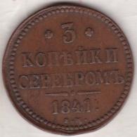 Russie, 3 Kopeks 1841 EM. Nicholas I . C# 146.1 - Russie