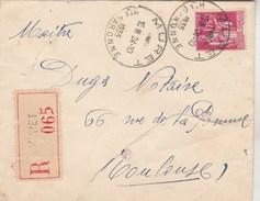 Yvert 289 Paix Seul Sur Lettre Recommandée  MURET Haute Garonne 24/10/1935 - Covers & Documents