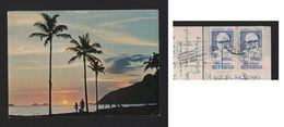 BRASIL BRAZIL IPANEMA BEACH Pc STAMP 1966VISIT PRES. ISRAEL Postmark PARIS Music - Postcards