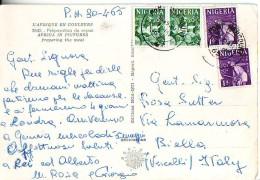 Nigeria, Artigianato E Miniera 2 Coppie Di Francobolli Val 1d E 3d  Su Cartolina Anni '60 - Nigeria (1961-...)